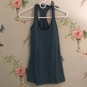 Blue Striped LULU Cool Racerback II Tank